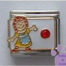 July Birthstone RAG DOLL Italian Charm with Ruby Crystal