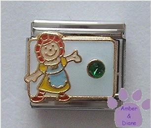 May Birthstone RAG DOLL Italian Charm with Emerald Crystal