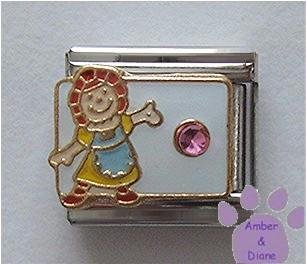 October Birthstone RAG DOLL Italian Charm Pk Tourmaline Crystal