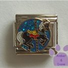Black Carousel Horse Italian Charm on blue glitter disc