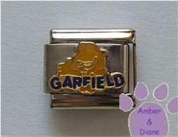 GARFIELD Italian Charm Garfield cat sitting with his name