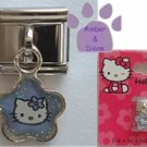 Hello Kitty Dangle Italian Charm Kitty blue glitter - flower