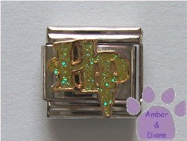 HP Italian Charm green glitter letters - Harry Potter