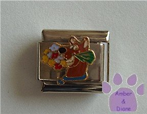 Scooby Doo with Bouquet of Flowers Italian Charm Hanna-Barbera