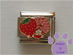 Strawberry Shortcake Italian Charm holding a HUGE strawberry