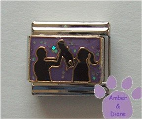 Daddy Mommy and Baby in Silhouette Italian Charm on glitter