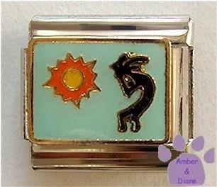 Kokopelli Italian Charm Symbol of Fertility on pale blue