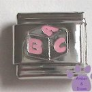 Pink and Silver Baby Building Block Italian Charm