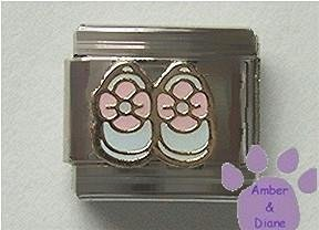Pink and White Baby Shoes Italian Charm