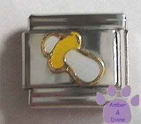 White and Yellow Baby Soother Italian Charm Pacifier