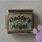 Daddy's Angel Italian Charm on blue glitter with halo