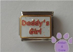 Daddy's Girl Italian Charm red on white glitter