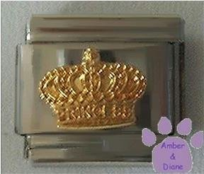 Gold CROWN with PRINCESS printed on front Italian Charm