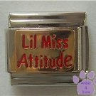 Lil Miss Attitude Italian Charm on Gold tone Background