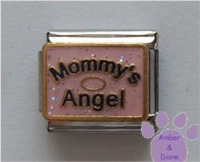 Mommy's Angel Italian Charm on pink glitter with halo
