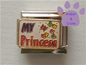 MY Princess Italian Charm with Butterfly and Flowers
