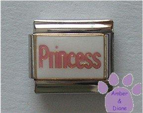 "Pink ""Princess"" Italian Charm on white enamel background"