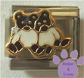 Two Adorable Hugging Teddy Bears Enamel Italian Charm
