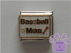 Baseball Mom Italian Charm with baseball and bat