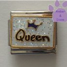 Blue Crown Queen on white glitter Italian Charm
