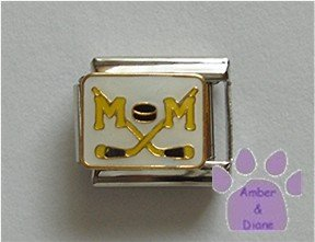 Hockey MOM Italian Charm with crossed hockey sticks and puck