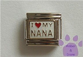I love (red heart) MY NANA Italian Charm on white enamel