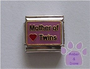 Mother of Twins Italian Charm on mauve with a red heart