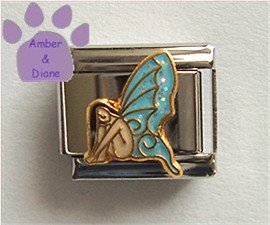 Beautiful Fairy with Blue Glitter Wings Italian Charm