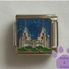 Fairy Castle Italian Charm on blue glitter