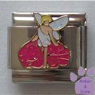 Fairy on a Pink Flower Italian Charm with White Glitter Wings