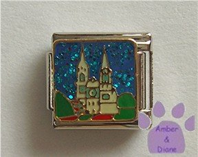 Fairy Tale Castle Italian Charm on blue glitter