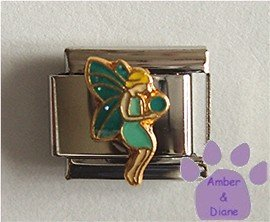 Lovely Fairy with Teal Glitter Wings Italian Charm