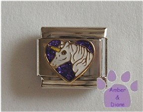 White Unicorn Italian Charm on a purple glitter heart
