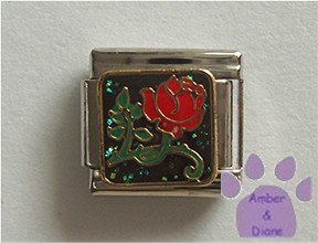 "Pretty Red Rose Italian Charm means ""I love you"""
