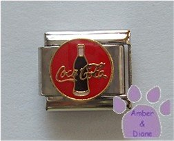 Bottle of Coca Cola Italian Charm on a red enamel disc