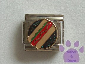 Hot Dog Italian Charm on a black glitter enamel disc