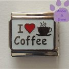 I love (red heart) Coffee Italian Charm on white enamel