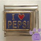 I love (red heart) PEPSI Italian Charm on blue background
