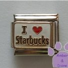 I love Starbucks Italian Charm red heart on white background