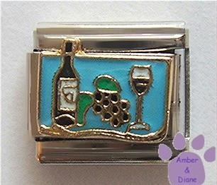 Wine Bottle, Grapes, and Wine Glass Italian Charm for Winemaking
