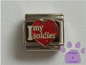 I love my soldier Italian Charm on a big red glitter heart