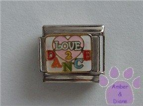 LOVE 2 DANCE Italian Charm on a pink heart