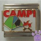 CAMP Camping Scene Italian Charm with Camp Fire and Tent