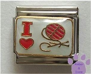 I love (heart) Knitting (Ball of Yarn) Italian Charm
