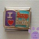 I Love (heart) Scrap Booking Italian Charm on an Open Scrap Book