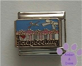 I love (red heart) Scrapbooking Italian Charm with Supplies