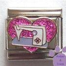 Love Sewing Machine Italian Charm Pink Glitter Heart