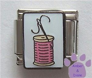 Needle and Spool of Thread Italian Charm on White Enamel