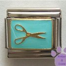 Scissors on aqua Italian Charm for Hairdresser Scrapbooker Groomer
