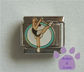 Dancer Italian Charm Posed on a blue and white disc